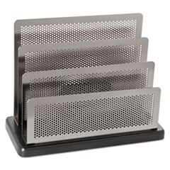 Mini Sorter, Three Stepped Sections, 7 1/2 x 3 1/2 x 5 3/4, Metal/Black