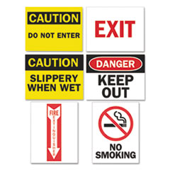 Magneto Safety Sign Inserts, Six Assorted Messages, 8 3/4 x 2 1/4, 12