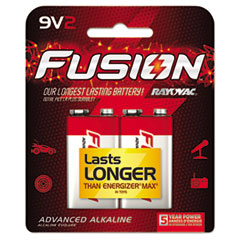 Fusion Performance Alkaline Batteries, 9V, 2/Pk