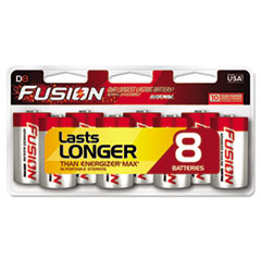 Fusion Advanced Alkaline Batteries, D, 8/Pack