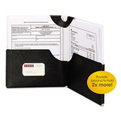 Big Pocket Lockit Folder, 11 x 8 1/2, Black, 5/Pack