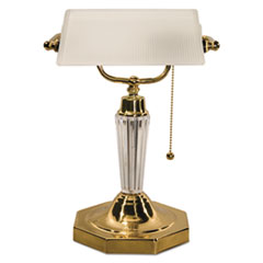 "Incandescent Banker's Lamp, Glass Shade, Acrylic Arm, 14-5/8"" High, Brass LEDL658FR"