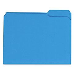 Colored File Folders, 1/3 Cut Assorted, Two-Ply Top Tab, Letter, Blue, 100/Box