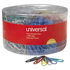 Vinyl-Coated Wire Paper Clips, No. 1, Assorted Colors, 1000/Pack