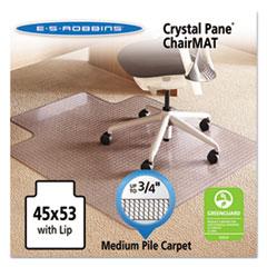 Crystal Pane Ergonomic Chair Mat for Medium Pile Carpet, 45 x 53, Clear