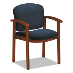 2111 Invitation Reception Series Wood Guest Chair, Cognac/Solid Blue Fabric