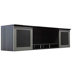 Medina Series Laminate Hutch With Glass Doors, 72w x 15d x 18 1/4h, Gray Steel