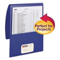 "Organized Up Poly Stackit Folders, Letter, 1"" Capacity, Dark Blue, 5/Pack"