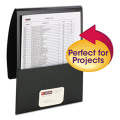 """Organized Up Poly Stackit Folders, Letter, 1"""" Capacity, Black, 5/Pack"""