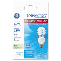 Compact Fluorescent Bulb, 13 Watts, Spiral, Soft White, 2/Pack