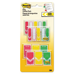 "1/2"" and 1"" Prioritization Page Flag Value Pack, Red/Yellow/Green, 320/Pack"