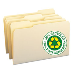 100% Recycled File Folders, 1/3 Cut, One-Ply Top Tab, Legal, Manila, 100/Box