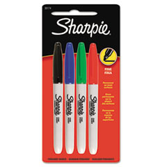 Fine Point Permanent Marker, Assorted Colors, 4/Set