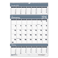 Bar Harbor Wirebound Three-Months-per-Page Wall Calendar, 12 x 17, 2015-2016