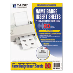 Name Badge Inserts, 4 x 3, White, 60/Pack