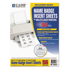 Name Badge Inserts, 3 1/2 x 2 1/4, White, 56/Pack