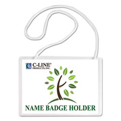 Specialty Name Badge Holder Kits, 4 x 3, White, 50/Box
