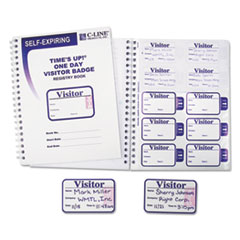 Times Up Self-Expiring Visitor Badges w/Registry Log, 3 x 2, WE, 150 Badges/Box