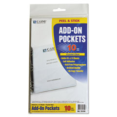 "Peel & Stick Add-On Filing Pockets, 25"", 11 x 8 1/2, 10/Pack"