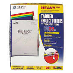 Heavyweight Tabbed Jacket Project Folders, Letter, Poly, Assorted Colors, 25/Box