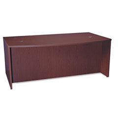 BL Laminate Series Bow Front Desk Shell, 72w x 42w x 29h, Mahogany