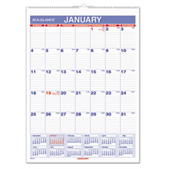 Monthly Wall Calendar with Ruled Daily Blocks, 8 x 11, White, 2016