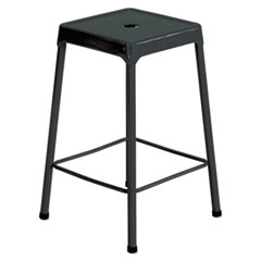 Counter-Height Steel Stool, Black