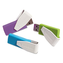 Store 'n' Go Swivel USB 2.0 Flash Drive, 8GB, Blue/Green/Violet, 3/Pack