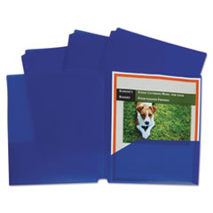 Two-Pocket Heavyweight Poly Portfolio Folder, 3-Hole Punch, Letter, Blue, 25/Box