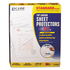 "Standard Weight Polypropylene Sheet Protector, Non-Glare, 2"", 11 x 8 1/2, 50/BX"