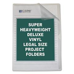 Deluxe Project Folders, Jacket, Legal, Vinyl, Clear, 50/Box