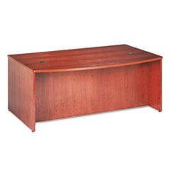 BW Veneer Series Bow Front Desk Shell, 72w x 42w x 29h, Bourbon Cherry