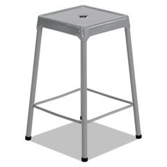 Counter-Height Steel Stool, Silver