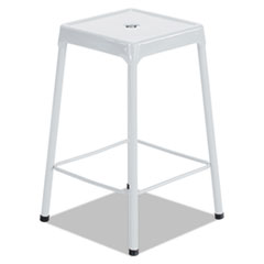 Counter-Height Steel Stool, White