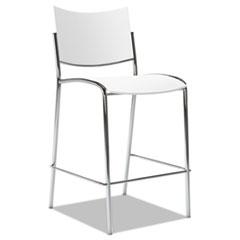 Escalate Stacking Stool, Plastic Back/Seat, White, 2 Stools/Carton