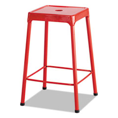 Counter-Height Steel Stool, Red