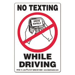 Self-Adhesive Label, 6 1/2 x 4 1/2, NO TEXTING WHILE DRIVING, 500/Roll