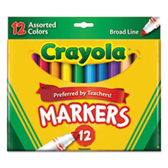 Non-Washable Markers, Broad Point, Assorted Colors, 12/Set