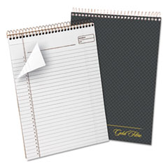 Gold Fibre Wirebound Writing Pad w/Cover, 8 1/2 x 11 3/4, White, Grey Cover TOP20813