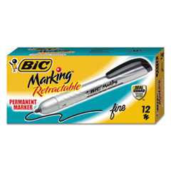 Marking Retractable Permanent Marker, Fine Tip, Black, Dozen