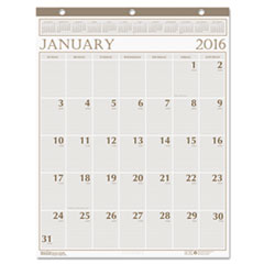 Large Print Monthly Wall Calendar in Punched Leatherette Binding, 20 x 26, 2016
