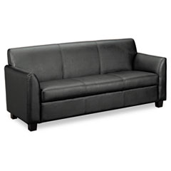 Tailored Leather Reception Three-Cushion Sofa, 73w x 28-3/4d x 32h, Black