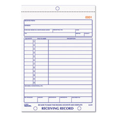 RECEIVING RECORD BOOK, 5-1/2 X 7-7/8, TWO-PART CARBONLESS, 50 SETS/BOOK
