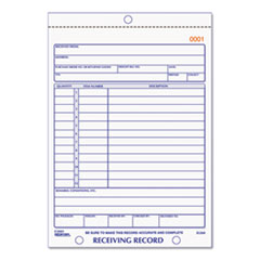 RECEIVING RECORD BOOK, 5-1/2 X 7-7/8, THREE-PART CARBONLESS, 50 SETS/BOOK