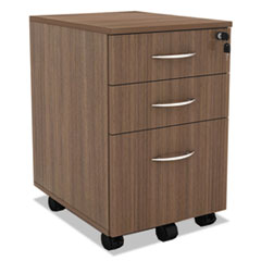 Alera Sedina Series Mobile B/B/F Pedestal, 15 3/8 x 20 x 26 5/8, Modern Walnut