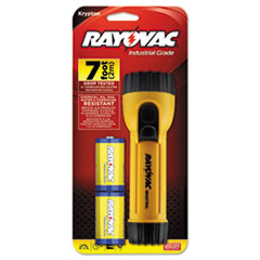 Industrial Tough Flashlight, 2 D Batteries, Yellow/Black