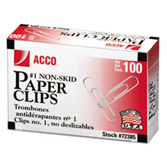 Nonskid Standard Paper Clips, #1, Silver, 100/Box, 10 Boxes/Pack