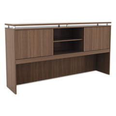 Alera Sedina Series Hutch with Sliding Doors, 72w x 15d x 42 1/2h, Modern Walnut