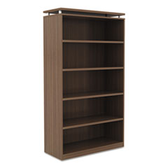 Alera Sedina Series Bookcase, Five-Shelf, 36w x 15d x 72h, Modern Walnut