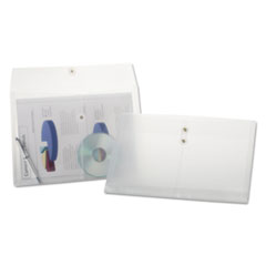 Expandable Poly String & Button Booklet Envelope, Clear, Legal, 3/Pack